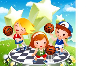 Children Vector Basketball Tricks