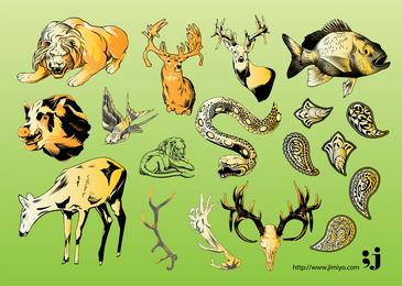 Vektorillustrationen für wild lebende Tiere