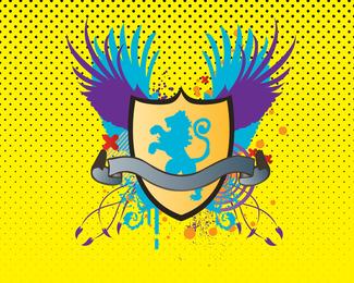 Escudo de leão heráldico