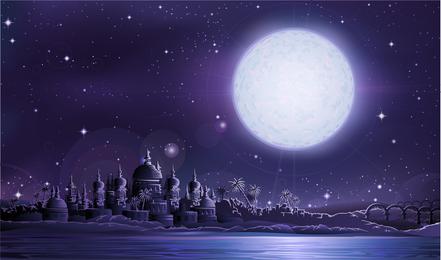 Sob a lua cheia a antiga cidade de vetor Antiga a cidade sob a lua cheia