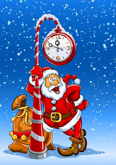 Santa Claus And Elk Vector