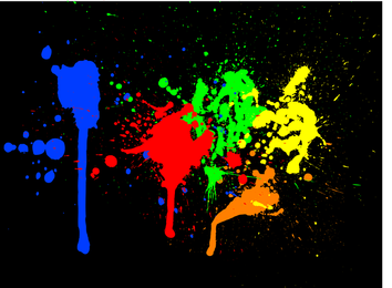 Bright color ink splashes