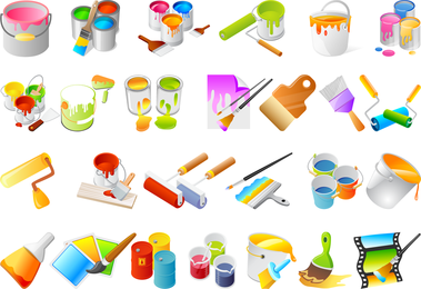 Vector de herramientas de pintura y pintar las paredes