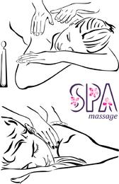 Linhas beleza massagem vector