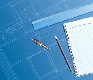 6 Plano de planta interior dibujo tema vectorial