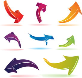 Color Threedimensional Arrow Vector