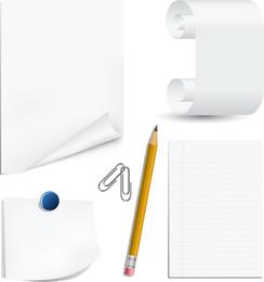 Clip de papel blanco y clip de lápiz