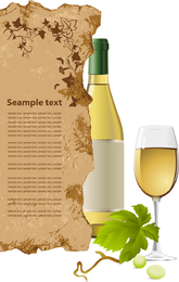Vector de botella y vasos de vino blanco
