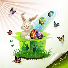 Easter Cards And Decorations Butterfly Eggs 02 Vector