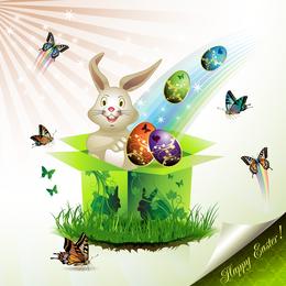 Páscoa cartões e decorações borboleta ovos 02 Vector