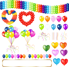 Beautifully Colored Balloons 05 Vector