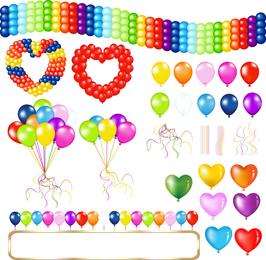 Bellamente coloreado globos 05 Vector
