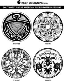 Vectores de diseño de cerámica del nativo americano del suroeste