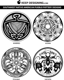 Vetores do projeto da cerâmica do nativo americano do sudoeste