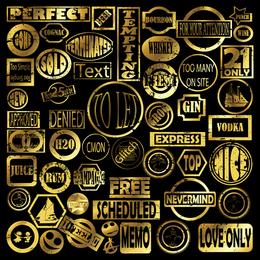 Selo postal de selo dourado