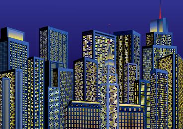 Vector noite cidade brilhante