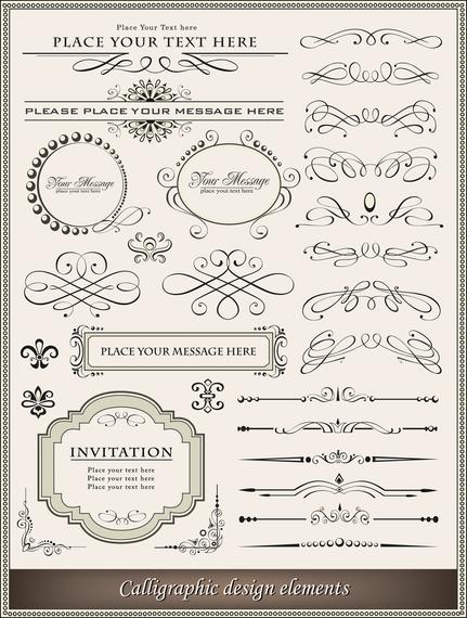 Calligraphic design ornament elements