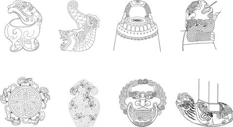 Lokaler Bau des klassischen chinesischen Instrument-Vektors