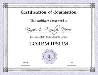 Tres certificados de diseño vectorial