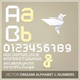Origami Ribbon 26 letras y números en inglés Vector 2