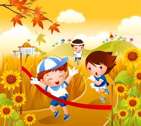Crianças correndo vetor de movimento