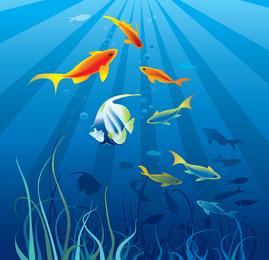 Vector bonito mundo subaquático