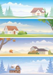 Vetor de paisagem quatro estações