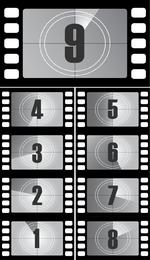 Títulos de películas vectoriales de cuenta regresiva digital