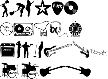 Music silhouettes and illustrations set