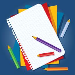 Libro y lápiz de color Vector