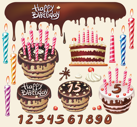 Beautiful Birthday Cake Theme Vector