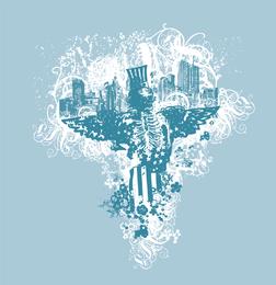 Cidade dos Anjos gráfico livre Vector