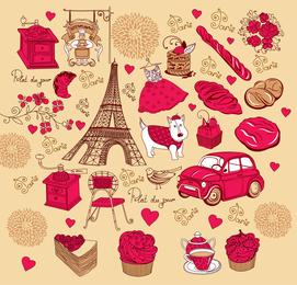 Vector de tema rosa roja francesa