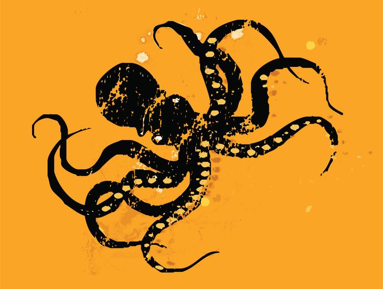 Octopus Retro Print Black Orange Deep Sea Creature