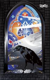 Vector corvo no peitoril da janela do material