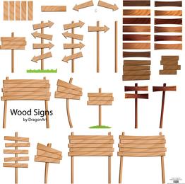 Wood Grain Arrow Signs Vector Material