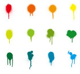 Conjunto de vectores de pintura colorida salpicadura
