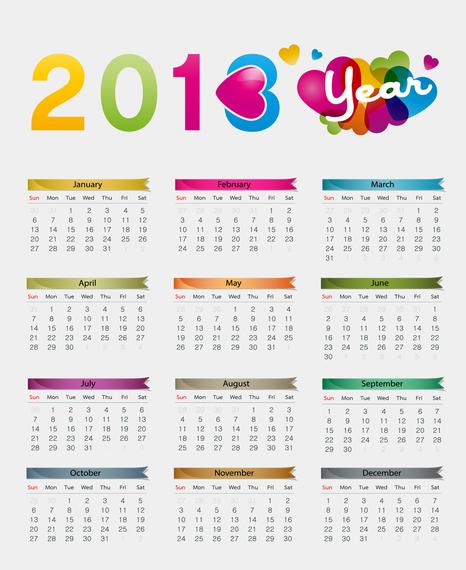 Colorful 2013 Calendar Vector Illustration