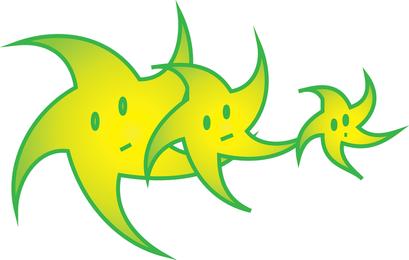 Green Stars Cartoon
