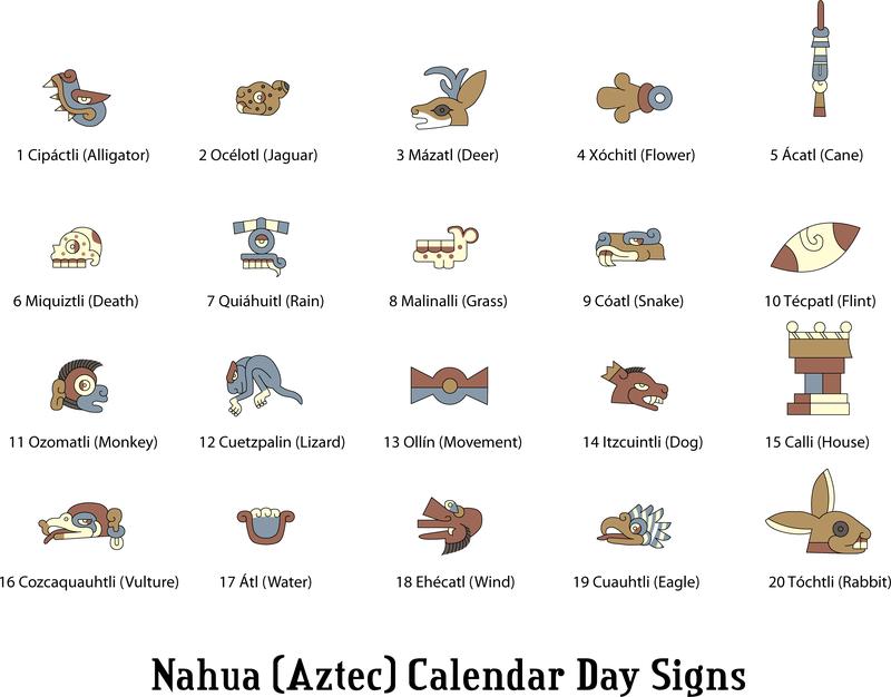 Nahua Aztec Calendar Signs Vector Download