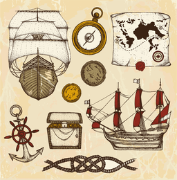 Ancient Nautical Theme Vector