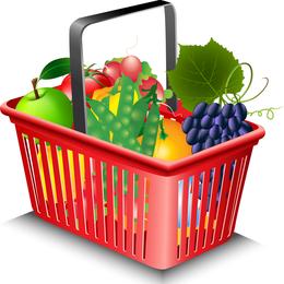 Frutas Y Verduras Y Cesta De Compras 02 Vector