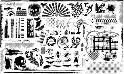 Elementos de diseño en blanco y negro Vector serie 7 Elemento actual