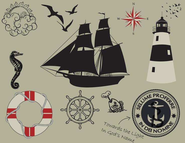 1 Nautical Theme Graphics Vector