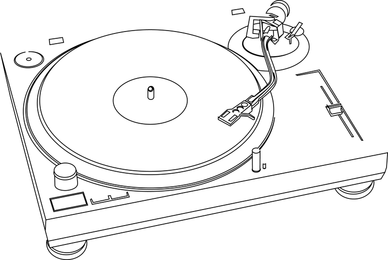 La música de jazz de plástico reproductor de discos Dibujo lineal del vector