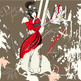 Pintado a mano hermoso Fashion Illustrator 04 Vector