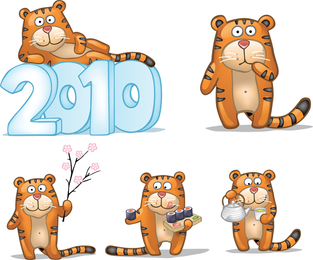 Cute Little Tiger Cover Figure Vector