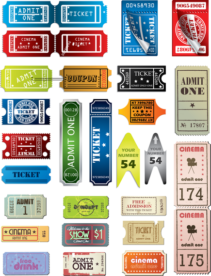 Tickets In Different Styles Vector Set