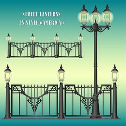 Europeanstyle Straßenlaternen-Leuchter-Lampen-Vektor