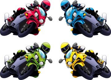 Set of 4 motorcyclists